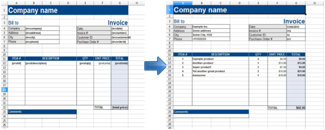 Simple generation of report from excel template